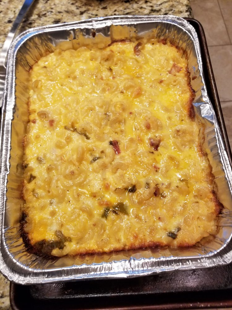 Smoked Mac & Cheese with Bacon and Green Chile